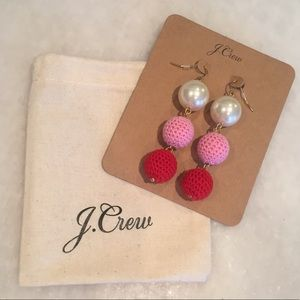 NWT J. Crew Pearl and Crochet Bead Drop Earrings